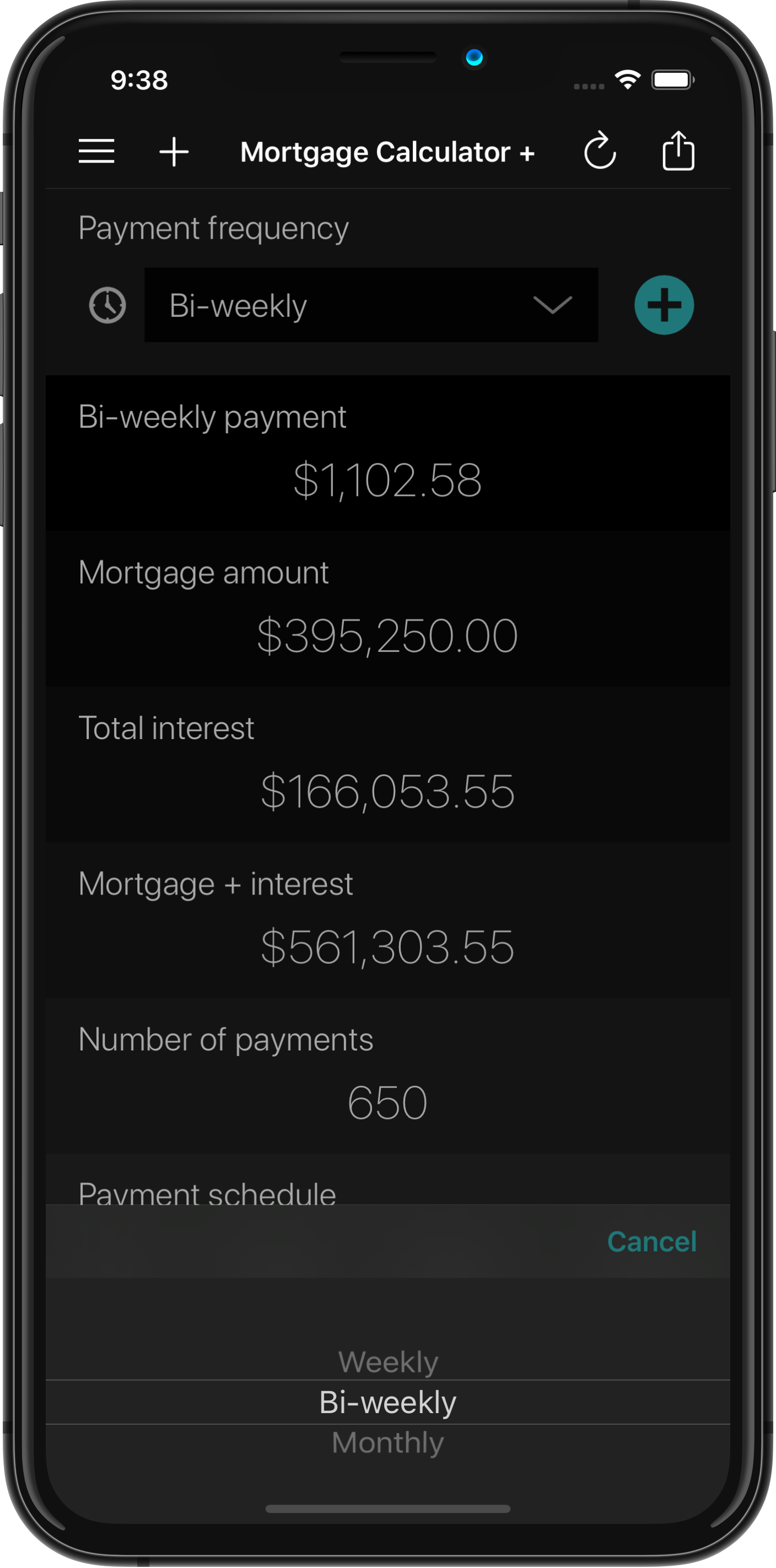 Mortgage Calculator + Payment Frequency